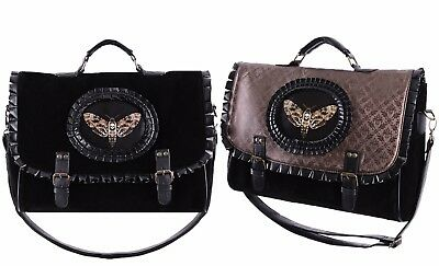 Restyle Moth Cameo Messenger Bag Gothic Victorian Backpack Black/Brown