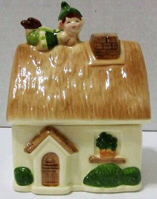 Gorham Japan Pixie Thatched Cottage Figural Leprechaun Lidded Box