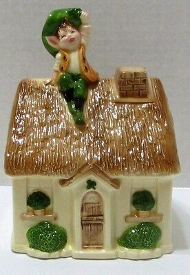 Gorham Japan Pixie Coin Bank Figural Leprechaun on Cottage Roof
