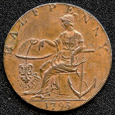 """1793 Great Britain """"Peace And Plenty"""" Essex Half Penny Coin Token"""