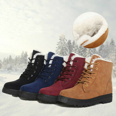 KF_ Women Snow Boots Casual Warm Flat Winter Boots Outdoors Shoes Plus Size No
