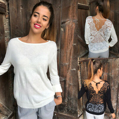 Fashion Ladies Sexy Lace Backless Top T-Shirt Tee Pullover V Neck Long Sleeve