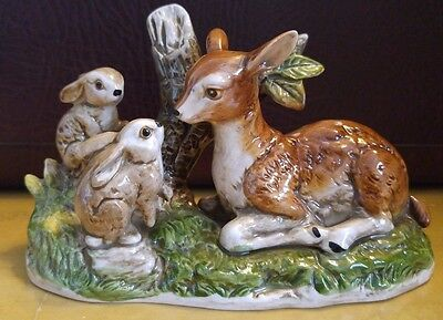 White Tail Deer / Fawn with Bunnies Figurine - Fine Porcelain
