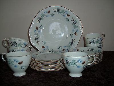 Colclough Tea Set - 6 x trios, 1 cake plate and spare plates and saucers