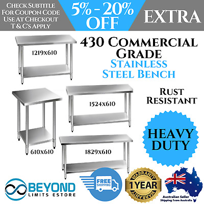 430 Stainless-Steel Bench Table Commercial Home Kitchen Work Food Grade Shelf