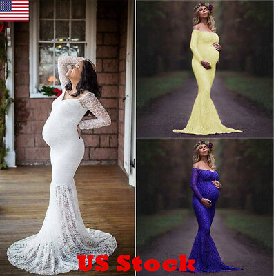 US Fancy Pregnant Women Long Maxi Lace Photography Photo Shoot Maternity Dresses