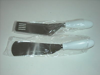 Lot 6 Sets 12 Pcs Heavy Duty Stainless Cake & Pie Spatula Set White Handles New