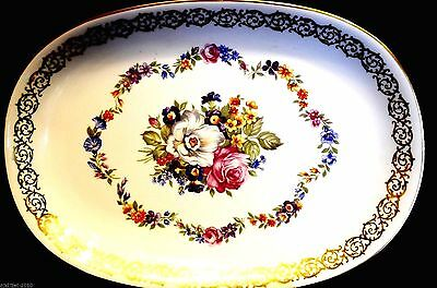 GLORIA - GERMANY  24k GOLD TRIM LARGE OVAL GLASS  SERVICE PLATE  ALL HAND PAINT