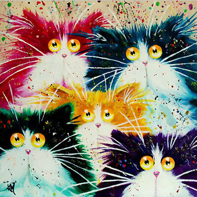 Room Decor Canvas Paint By Numbers Kit Digital Oil Painting Five Cats No Frame
