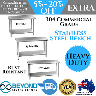 304 Stainless-Steel Bench Commercial Table Home Kitchen Work Food Grade Shelf