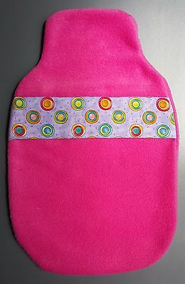 Hot Water Bottle Cover Hand Made- Fleecy Circles