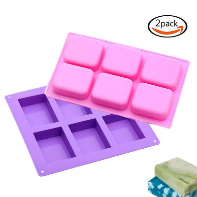 2pcs Rectangle 6-Cavity Silicone Soap Mold DIY Craft Cake Mould Ice Cube Tray