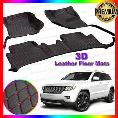 3D PU Leather Floor Mats Carpet Black Red suit Jeep Grand Cherokee 2010-2018