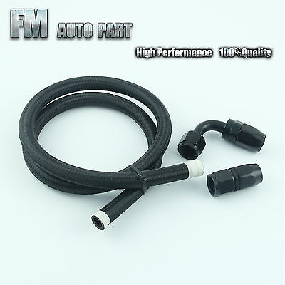 AN8 8-AN Nylon Braided Oil/Fuel Line Hose 1M/3FT+ Straight + 90°Swivel Fitting
