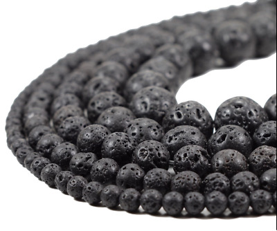 Wholesale Natural Gemstone Black Volcanic Lava Stone Round Spacer Loose Beads