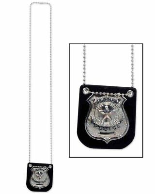 Metal Police Badge With Chain 71cm One Size