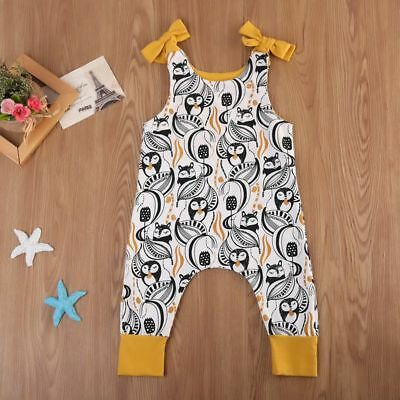 UK Stock Toddler Baby Boys Girls Penguins Cotton Romper Jumpsuit Clothes Outfits