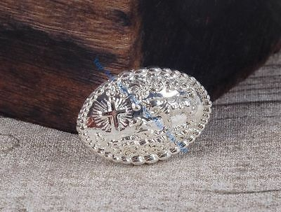 6PCS 35*24 MM Retro Bling Silver Western Cowgirl Prayer Cross Horse Oval Concho