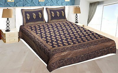 Indian Handmade Floral Print Cotton Bedspread 2Pcs Pillow Covers