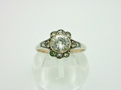 Elegant Art Deco 9ct Gold Sterling Silver Diamond Paste Cocktail Ring Size P 1/2