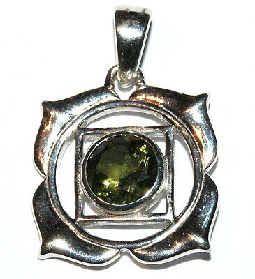Moldavite Sterling Silver Pendant Base Root Chakra Design - Facet Cut Polished
