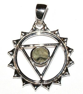Moldavite Sterling Silver Pendant Throat Chakra Design