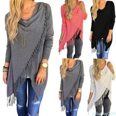 Women Tassel Irregular Knitted Cardigan Sweater Boho Hippie Coat Cape Outwear