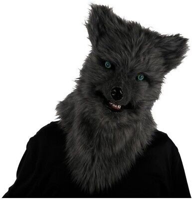 Halloween Realistic Gray Fox Mask Moving Mouth Monster Fur Animalistic One Size