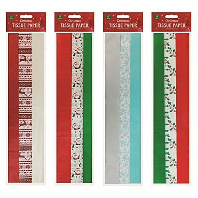 15 x Christmas Xmas Tissue Paper Sheets Acid Free Red Green White Wrapping