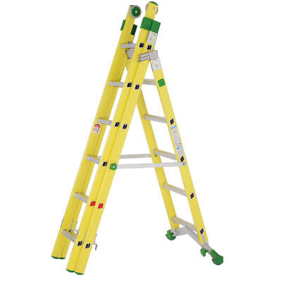 Industrial Fibreglass Combination Ladder - Telescopic Multi-Purpose Step Ladder