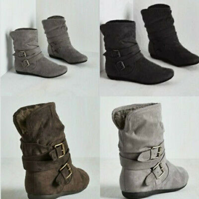 Women's Casual Comfort Fur Ankle Boots Round Toe Slouch Flat Heel Boot Shoes New