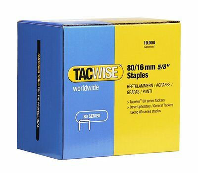 80 SERIES STAPLES for UPHOLSTERY STAPLING 16mm LEG LENGTH. 10,000 STAPLES/BOX