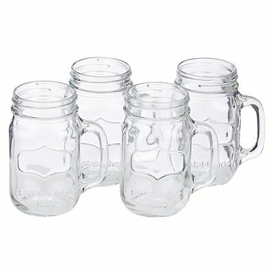 Set of 4 Mason Clear Glass Jars, Drinking Cocktail Mugs with Handle 450ml