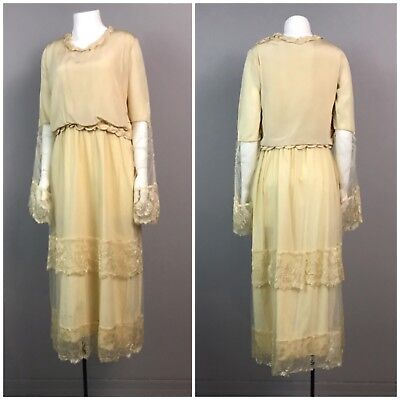 Antique 1910s 20s Creme Silk Lace Pearl Trim Tea Length Wedding Dress Gown Small