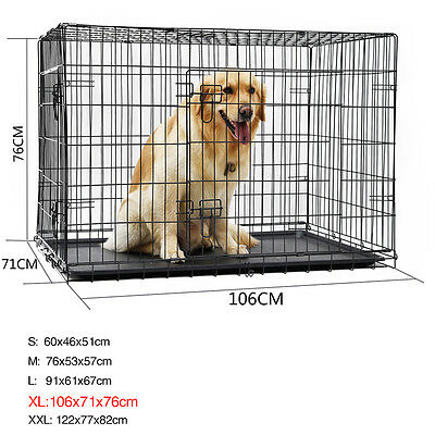 Dog Pup Cage Kennel Large Dog Crate Bed Cat Training Collapsible Metal Suitcase