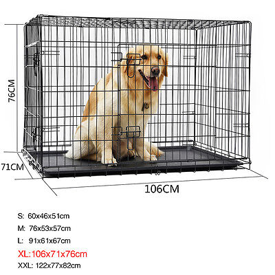 Pet Dog Cage Bed Traning Crate Wire Large Dog Metal Foldable Pup Suitcase Kennel