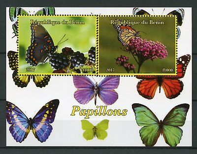 Benin 2017 MNH Butterflies Monarch Butterfly 2v M/S Papillons Insects Stamps