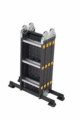 Professional Adjustable Ladders - Aluminium Multi-Purpose Trade Ladder - Black