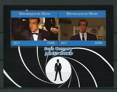 Benin 2017 MNH James Bond Sean Connery 007 2v M/S Film Movies Cinema Stamps