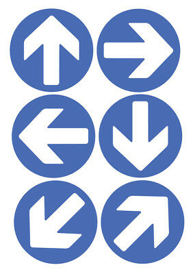 6 X Direction Arrows Blue Self Adhesive Stickers Safety Signs