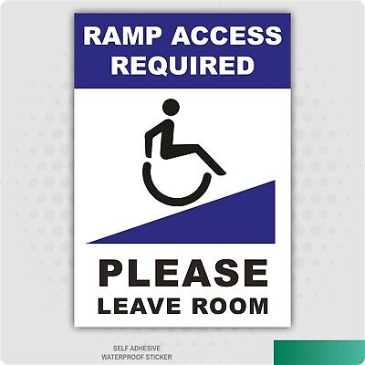 Ramp Access Required Wheelchair Self Adhesive Stickers Safety Signs