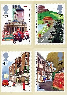1985 PHQ CARDS No.85  Royal Mail 350 Years Of Service SET 4 Mint