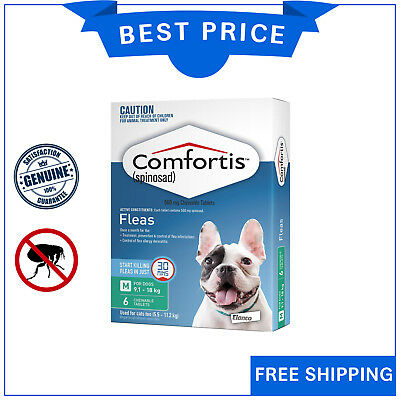 COMFORTIS for Dogs 9.1 to 18 Kg GREEN Pack 6 Chews Chewable Dog Flea treatment