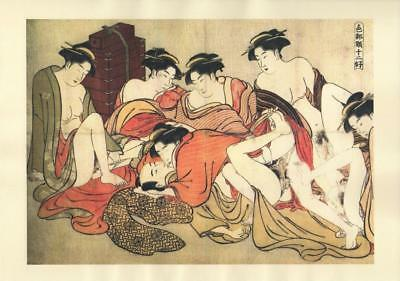 Japanese Reproduction Woodblock Print Shunga Style p10 Erotic A4 Parchment Paper