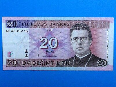LITHUANIA 2001, 20 Litu Collectible Banknote. Fine Condition