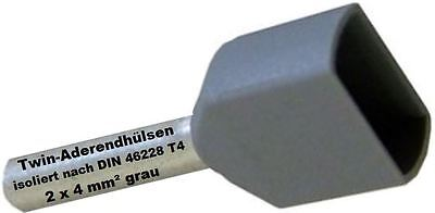 Twin Wire End Ferrules 2 x 4 mm ² Grey Double Tinned