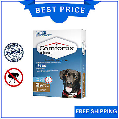 COMFORTIS for Dogs 27.1 to 54 Kg BROWN Pack 6 Chews Chewable Dog Flea treatment
