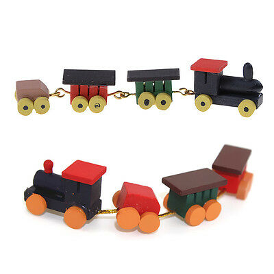 Cute 1/12 Dollhouse Miniature Painted Wooden Toy Train Set and Carriages ev