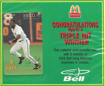 Vintage McDonald's Premium, Joe Carter Phone Card Collectable From 1996