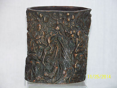 Chinese Carved Bronze/Copper Metal Sculpture Vase with Reign Mark On Bottom
